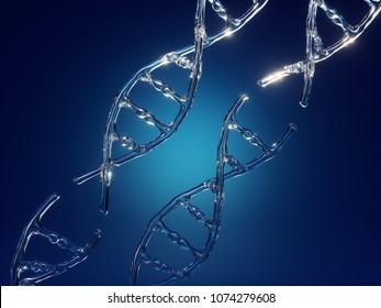 3d render, dna spiral, chain, microbiology, biotechnology, genome editing, broken link, glass, abstract scientific background, liquid water texture