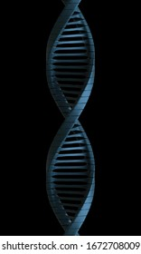 3D render of dna strand on a black bacground