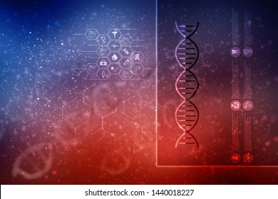 3d render of dna structure, abstract background