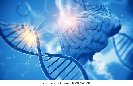 3d render of DNA structure and Brain, abstract background