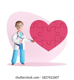 3d render, doctor cardiologist cartoon character wears uniform and stethoscope, heart puzzle. Healthcare concept on pink background
