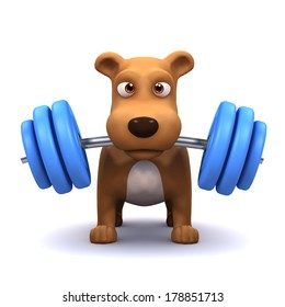 3d render of a dog lifting weights in the gym