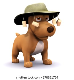 3d render of a dog wearing an Australian bush hat with corks