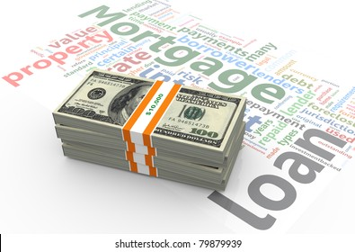 3d render of dollar pack on the background of 'mortgage' wordlcloud