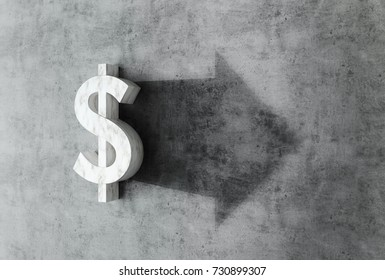 3D render of a dollar symbol, with arow shadow on concrete background representing currency flutuation