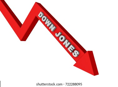 3d render Dow Jones stock market index in a red arrow on a white background.