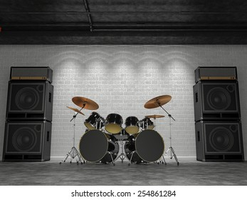 3d render of a drum set on a background of a brick wall and guitar amps.