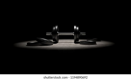 3D Render - Dumbbells and weight discs in the gym - one dumbbell