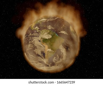 3D render of earth on fire - South America view