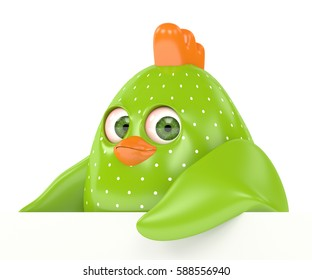 3d render of Easter chick holding board with copy space isolated on white background