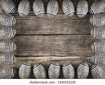3D render of Easter eggs arranged into framework on wooden rustic table shot from above