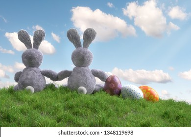 3D render of Easter eggs and a couple of Easter bunnies sitting on meadow hill backside looking at the sky