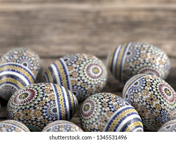 3D render of Easter eggs on wooden rustic table