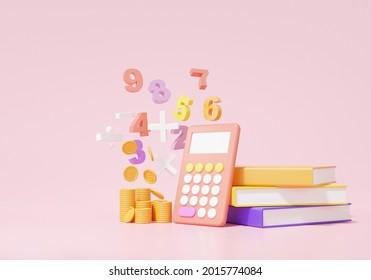 3D render Economics finance education concept. calculator, analytics, book basic math operation symbols math, plus, minus, multiplication, number divide on pink background. illustration