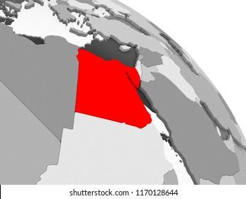 3D render of Egypt in red on grey political globe with transparent oceans. 3D illustration.