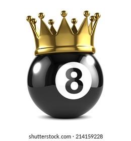 3d render of an eight ball wearing a gold crown