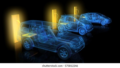 3d render of electric cars charging from large glowing yellow battery outlets