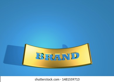 3d render , embossed brand in gold curved plate on blue background