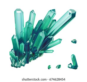 3d render, emerald green crystal isolated on white background, gem, natural nugget, esoteric accessory