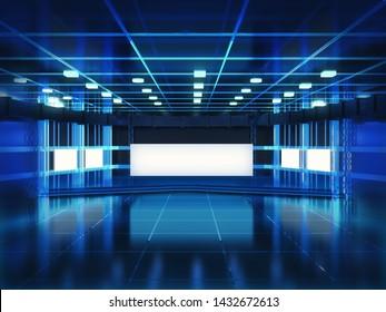 3D Render of Empty Broadcast Studio Interior