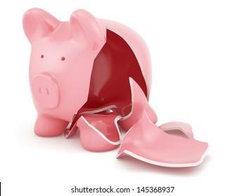 3d render of empty broken piggy bank