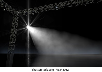A 3D render of an empty music concert stage in darkness lit by a single spotlight