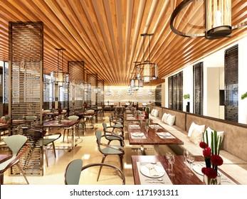 3d render of empty restaurant cafe