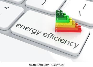 3d render of energy efficiency rating on computer keyboard