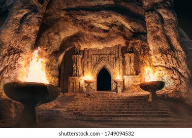 3d render environtment illustration of the temple entrance cave with monk statues and burning torches.