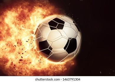 3D render of an eploding fiery football / soccer ball