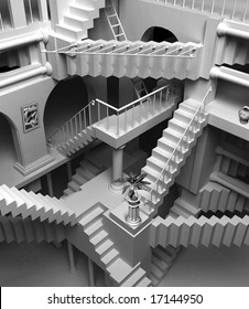 3D render of Escher's inspired stairs