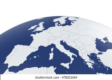 3d render of Europe map Earth globe with white background