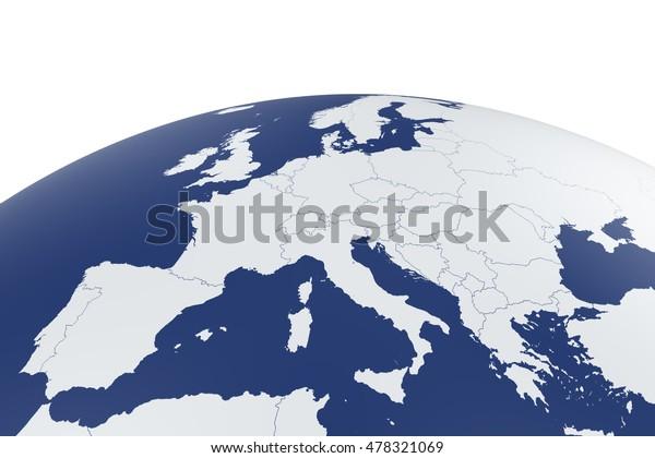 3d Renderoida Euroopan Kartta Earth Maapallo Arkistokuvitus 478321069