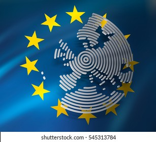 3d render of Europe map/Flag of European Union