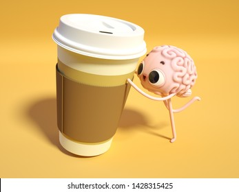 3d render of an excited brain-guy with a hudge cup of coffee