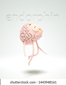 3d render of the excited brain-guy under influence of endorphins