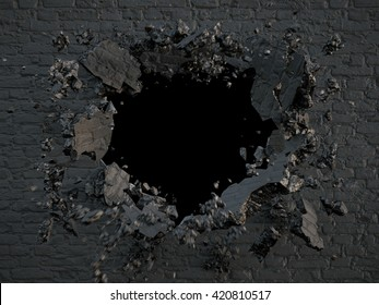 3d render, explosion, broken black wall, bullet hole, destruction, abstract background