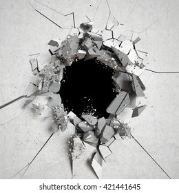 3d render, explosion, cracked concrete wall, bullet hole, destruction, abstract background