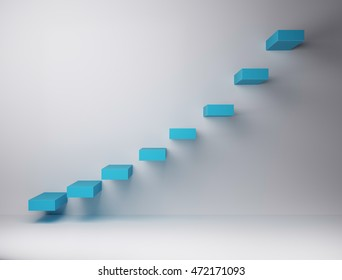 3D render of exponential organised stairs, blue stairs on white wall, representing growth and positivism