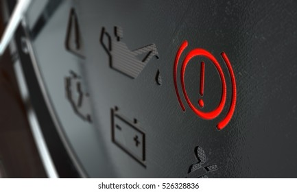 A 3D render of an extreme closeup of an illuminated brake dashboard light on an dashboard panel background