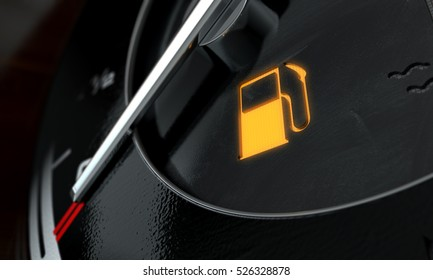A 3D render of an extreme closeup of an illuminated low petrol fuel dashboard light on a car dashboard panel background
