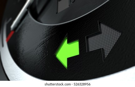 A 3D render of an extreme closeup of illuminated turning indicator dashboard light on a car dashboard panel