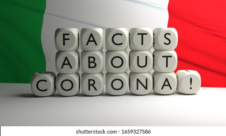 3D render - Facts about corona in Italy
