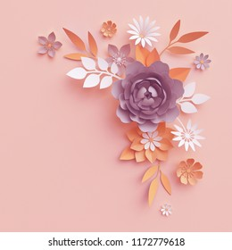 3d render, fall paper flowers, botanical arrangement, thanksgiving floral clip art, bouquet isolated on blush pink background, corner element, wall decor, baby shower, peony, daisy, rose, leaves