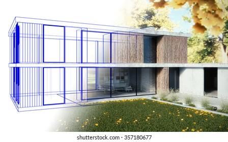 3D render - Family home - draft