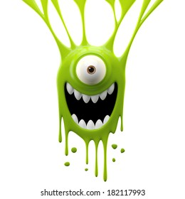 3D render fantasy monster, color grunge character, funny design element, attractive emoticon, unique expression sticker isolated on the white background