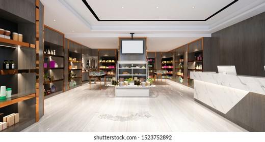 3d render of fashion beauty shop
