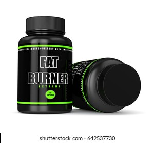 3d render of fat burner bottles with pills isolated over white background