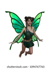 3d Render of a female fairy flying on a white background