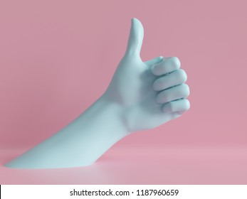 3d render, female hand isolated, thumb up, like gesture, jewelry shop display, minimal fashion background, mannequin body part, show, presentation, pink blue pastel colors
